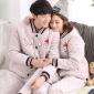 冬季珊瑚绒三层夹棉情侣睡衣加厚法兰绒女韩版休闲保暖家居服套装