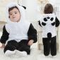 三层加厚熊猫哈衣婴儿连体衣 法兰绒保暖宝宝爬服 2017秋冬童装