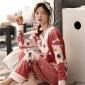 新款长袖海岛绒睡衣女士秋冬套头保暖家居服法兰绒韩版珊瑚绒套装