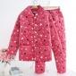 爆款年轻女士冬季法兰绒睡衣韩版可爱三层加厚夹棉保暖加绒珊瑚绒