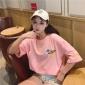 韩版2019春夏季原宿风刺绣地球图案短袖T恤女休闲上衣一件代发