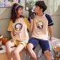 亦绚夏季新款情侣睡衣女针织棉质短袖卡通男士青年休闲家居服套装