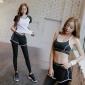 健身房运动短裤套装 印字经典款瑜伽服拼接撞色t恤长裤三件套女