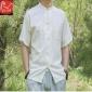 厂家直销特价韩版精品男t恤休闲开衫短袖男式纯棉百搭立领衬衫