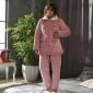 珊瑚绒睡衣女冬季加厚三层夹棉韩版保暖法兰绒家居服冬天棉袄套装